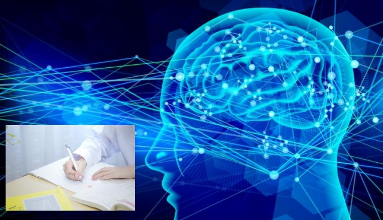 ノートと頭脳の絵